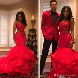 hot sexy girls red dress Australia - African 2019 Hot Black Girls Red Mermaid Prom Dresses Organza Tiered Cutaway Side Lace Applique Beaded Formal Evening Gowns Party Vestidos