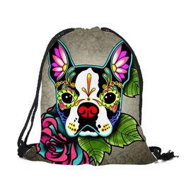 Dog Backpack Large UK - Customized Drawstring Bags Women Men Unisex Skull Dog Tattoo 3d Printing Bags Mochila Feminina Sac A Dos String Backpacks