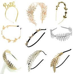 Double crown hair online shopping - Baroque Style Gold Silver Metal Double Leaf Crown Hairbands Headdress Girl Leaf Hair Jewelry Wedding Accessories Hair Ornaments