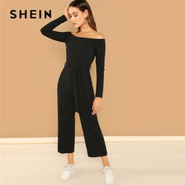 Long Jumpsuits Xs Australia - Shein Black Casual Off Shoulder Tie Solid Wide Leg Long Sleeve Mid Waist Jumpsuit 2018 Autumn Office Lady Women Jumpsuits C19040402