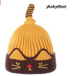 cd07a4e97b8 New Autumn and winter Baby Warm Cartoon cat Turn over Sleeve hat Red Pink  Gray Blue Black Yellow Knitted wool cap 2pcs lot