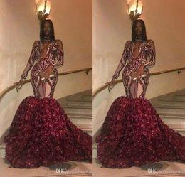 $enCountryForm.capitalKeyWord Australia - Burgundy Plus Size Prom Dresses Mermaid Long Sleeves High Neck 3D Flowers Evening Formal Party Dresses 2019 Custom Made
