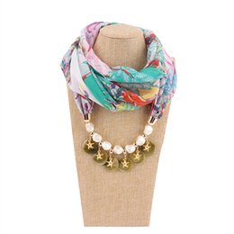Circle Jewelry Necklace Scarves Australia - 2019 Multi-style Decorative Jewelry Necklace Resin Beads Pendant Scarf Women Foulard Femme Head Scarves Hijab Free Shipping