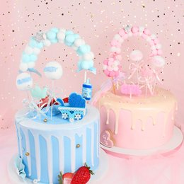 $enCountryForm.capitalKeyWord Australia - 1pc Hot Sale Pink Blue Soft Cloud Cake Top Flags Cake Topper for Baby Shower Festival Celebration Cake Decoration Party Supplies