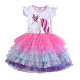 Wholesale Kids Tutus Australia - Girls Unicorn Tutu Dress Kids Sequined Princess Vestido Girls Birthday Party Dress Children Summer Unicorn Costumes