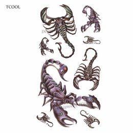 China TCOOL Scorpion Women Temporary Tattoo Sticker Tattoos for Men Fashion Body Art Kids Children Hand Fake Tatoo 10.5X6cm A-228 suppliers