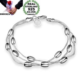 $enCountryForm.capitalKeyWord Australia - OMHXZJ Wholesale Personality Fashion OL Woman Girl Party Gift Silver Long Beads Three Lines 925 Sterling Silver Bracelet BR21