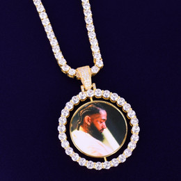 Making Photo Pendants Australia - Custom Made Photo Rotating double-sided Medallions Pendant Necklace 4mm Tennis Chain Zircon Men's Hip hop Jewelry 2x1.65 inch