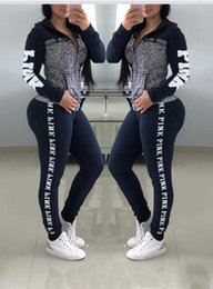 Wholesale Womens Autumn Sports Tracksuits PINK Letters Jacket Pants Clothing Sets Designer Athletic Suits For Sale