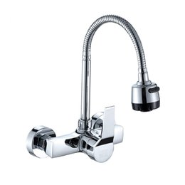 Swivel hoSe online shopping - Wall Mounted Kitchen Faucet Wall Kitchen Mixers Kitchen Sink Tap Degree Swivel Flexible Hose Double Holes
