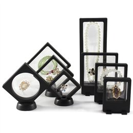 $enCountryForm.capitalKeyWord Australia - Fashion ABS Cases Displays Square 3D Albums Floating Frame Holder Black White Coin Box Jewelry Display Show Case For Wedding