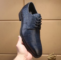 designer shoe lace pattern NZ - New designer men blue stone pattern genuine leather lace up oxfords,brand pointed toe business wedding dress shoes 38-44 drop shipping