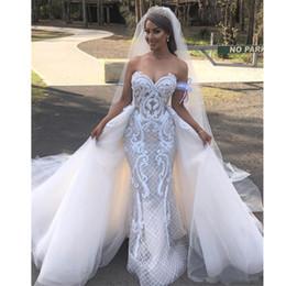 Detachable Skirt Mermaid Wedding Dress Australia - Graceful Mermaid Wedding Dresses with Detachable Train Sweetheart Pearls Abric Dubai Wedding Gown Tulle Layer Skirt Vestido De Casamento