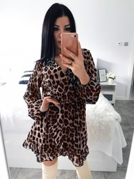 $enCountryForm.capitalKeyWord Australia - Women Dress Long Sleeve Leopard Print Sexy V Neck Party Clubwear Loose Ruffle Mini Dress Fashion Women Vestido