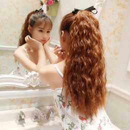 long curly hair piece ponytail 2019 - Girls instant noodles roll long curly hair wigs realistic natural corn fireworks hot ponytail braids straight hair piece