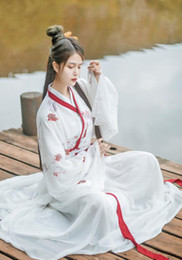 Discount chinese dance costumes women Elegant Hanfu Dress Ancient Chinese Costume Chinese Style Embroidery Tang Dynasty Traditional Nation Dance Princess Dres