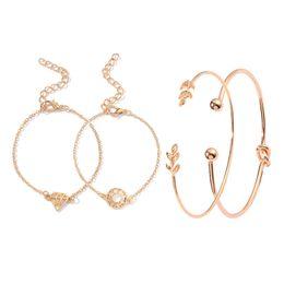 Bracelets Sets Four-piece Set Ornaments Fashionable Leaf Bracelet Women's Wholesale Bracelets & Bangles on Sale