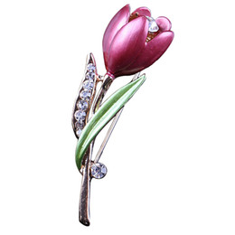 $enCountryForm.capitalKeyWord UK - Elegant Tulip Flower Brooch Pin Rhinestone Crystal Costume Jewelry Clothes Accessories Jewelry Brooches For Wedding