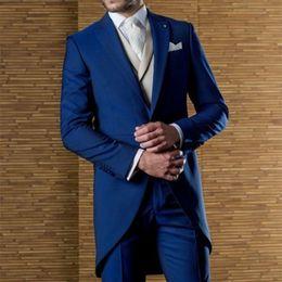 Piece Suits Designs Blue Color Australia - Latest Coat Pant Designs Italian Royal Blue Men Suit Slim Fit 3 Piece Long Tuxedo Prom Suits Custom Groom Blazer Terno Masculino