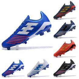 3d6776fd0b5 2019 New Mens Predator Football Boots Player Version Stripes Black Blue  White Soccer Cleats Designer Man Sneakers Soccer Futsal Shoes 39-45