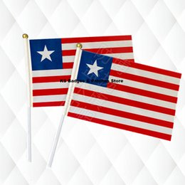 $enCountryForm.capitalKeyWord Australia - Liberia Hand Held Stick Cloth Flags Safety Ball Top Hand National Flags 14*21CM 10pcs a lot