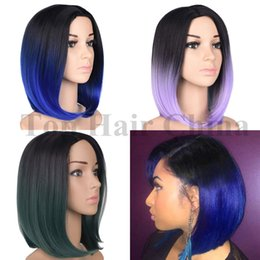 China Summer Style Nice Piano Color Ombre Hair Wig Short Straight Bob Synthetic Hair Wigs For Black Women Cheap Straight Wave cheap piano color wig suppliers