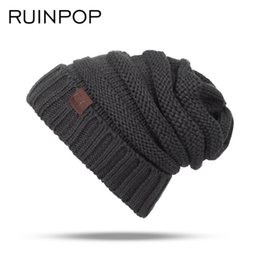 Wholesale Kids Knitted Beanies UK - RUINPOP Children Winter Hats Cute Boy Girls Skullies Beanies Cap Casual Cotton Beanie Knitted Hats Autumn Kids Warm Hat Beanies