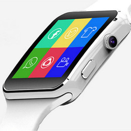 smart watches sim cards UK - New Arrival X6 Smart Watch with Camera Touch Screen Support SIM TF Card Bluetooth Smartwatch for iPhone Xiaomi Android Phone