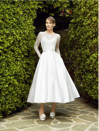 $enCountryForm.capitalKeyWord Australia - Vintage Tea length Lace Satin Wedding Dress With Pockets Long Sleeves Sheer Neckline Buttons Back Women Informal Bridal Gowns Custom Made