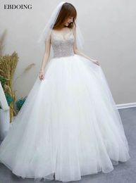 $enCountryForm.capitalKeyWord NZ - EBDOING Sexy Ball Gown Wedding Dress Sweetheart Neckline Short Sleeves Court Train Plus Size Backless Custom Made Bridal Gown
