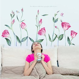$enCountryForm.capitalKeyWord Australia - Pink Rose Flowers Wall Sticker Living Room Bedroom Background Wall Decor Mural Poster Art Decorative Wall Decals Self-adhesive Graphics