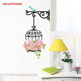 $enCountryForm.capitalKeyWord Australia - Cartoon Bird And Birdcage Wall Stickers For Children Bedroom Living Room Background DIY Home Decoration Wallpaper