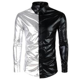 Metallic Gold Shirt Australia - 2019 Fashion Men's Metallic Shiny Nightclub New brand Shirt Gold Sliver Patchwork Disco Dance Tops Costume Party Slim Clubwear