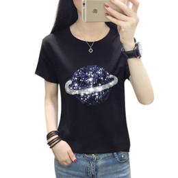 Tee squares online shopping - Harajuku Summer Fashion Women Elegant O Neck T shirt Femal Sequins Embroidery T shirt Casual Top korean Tees Free