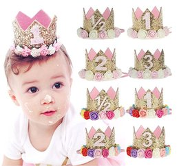 1pc Baby Birthday Party Crown Glitter Hat 1st 2nd Boy Girl Baby Shower Party Hat Decor Supplies Professional Design Cartoon Hats