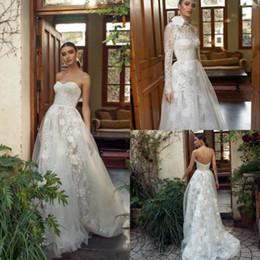 Wedding Dress Jackets Lace Australia - 2019 Lian Rokman Beach Wedding Dresses With Jacket A Line Lace Appliqued Boho Wedding Dress Sweep Train Custom Garden Bridal Gown