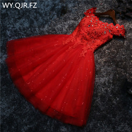 Dress marrieD short online shopping - LYG A5 Drill new lace up red white lace up short wedding party prom dress bride marry Bridesmaid Dresses