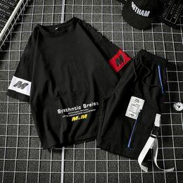 Tshirt Suit NZ - Shortsleeved Mens Tshirt Trend in Summer of 2019 7 SevenSleeve Casual Suit Korean Version Loose Handsome Twopiece Suit with FiveSleeve