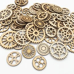 Pattern Decor Australia - 50pcs bag Mixed Wheel Gear Pattern Natrual Wooden Scrapbooking Hollow Craft Round Random for Handmade Home decor 25mm to 50mm ,7