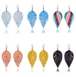 $enCountryForm.capitalKeyWord Australia - Simple Fashion Lady Boho Ear Hook Ear Stud Teardrop Leaf sequin earrings Dangle Earrings Women 1 Pair Handmade Leather Jewelry Gift