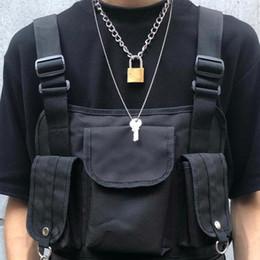 $enCountryForm.capitalKeyWord Australia - Cool Punk Gothic Men Women Unisex 2 In 1 Heavy Duty Chain Choker Squre Lock Collar Metal Link Key Necklace C19022301