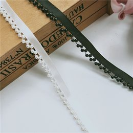$enCountryForm.capitalKeyWord NZ - 1 Yard Pearl Beads White Black Lace Edge Trim Ribbon Wedding Bridal Dress Sash Belts Trimmings Sewing Supplies Craft Clothes Bag Shoes DIY