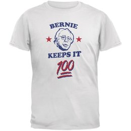 Red Black Grey Shirts Canada - Election 2016 Bernie Sanders Keeps It 100 White Adult T-Shirt size discout hot new tshirt white black grey red trousers tshirt