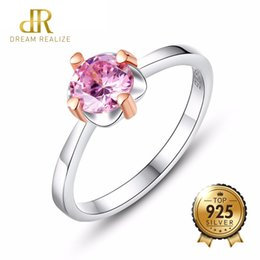 Rose Gold Cluster Engagement Rings Australia - DR Brand Jewelry Luxury 925 Sterling Silver Rings Rose Gold Flower Inlay Pink Zircon Stone Woman Birthday Gift Bijouterie