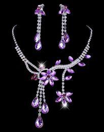 $enCountryForm.capitalKeyWord Australia - Cheap Hot Sale Womens Bridal Wedding Pageant Purple Rhinestone Necklace Earrings Jewelry Sets for Party Bridal Jewelry