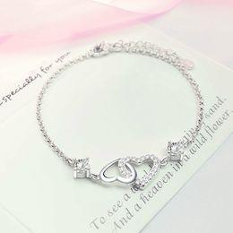 Fish Crystal Australia - Fashion Silver Chain White Crystal Diamonds Bracelet Bangle Adjustable Simple Bracelets Heart Love Bracelet Woman Wedding Party Jewelry