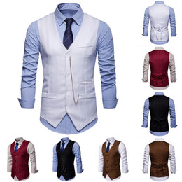 $enCountryForm.capitalKeyWord Australia - NIBESSER Men's Formal Business Suit Vest Casual Slim Vests Men Solid Single Buttons Vests Spring Autumn Male Suit For Men