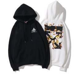 Graffiti hoodie online shopping - OFF WHITE OW Men and women rendering graffiti sports casual cotton hoodie sweater jacket