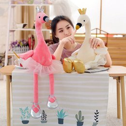 cute stuff for wholesale 2020 - 1PC Crown Swan Plush Toys Cute Flamingo Doll Stuffed Soft Animal Doll Ballet Swan With Crown Baby Kids Appease Toy Gift