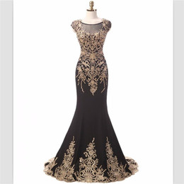 Empire Lace Applique Dress Australia - 2018 setwell black satin mermaid evening dresses custom sweep train gold lace appliques evening gowns cap sleeves prom dress robe de soiree